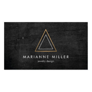 Edgy Rose Gold Triangle Logo on Black Wood Business Card