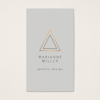 Edgy Rose Gold Triangle Logo on Light Gray Business Card