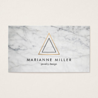 Edgy Rose Gold Triangle Logo White Marble Business Card