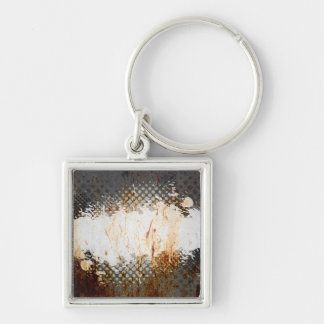 Edgy Urban Rust with Paint Splatter Layout Keychain