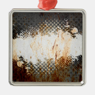Edgy Urban Rust with Paint Splatter Layout Metal Ornament