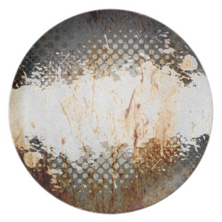 Edgy Urban Rust with Paint Splatter Layout Plate