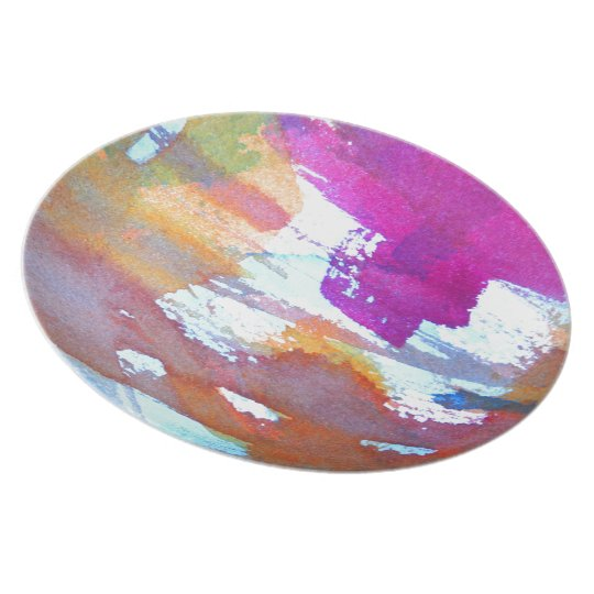 Edgy Watercolor Melamine Plate
