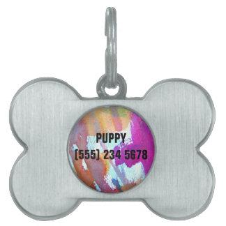 Edgy Watercolor Pet Tag