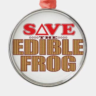 Edible Frog Save Metal Ornament