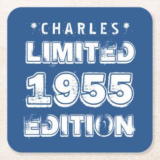 edición 60.os A01 de 1955 o de Any Year Birthday Posavasos Personalizable Cuadrado