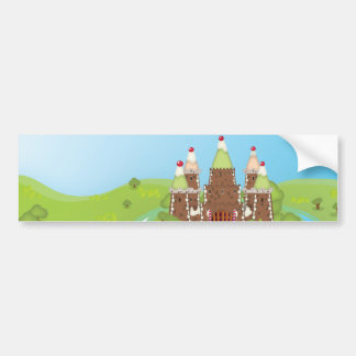 Edición de la torta del castillo de FairyTail Etiqueta De Parachoque