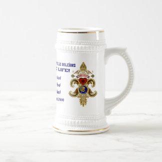 Edición especial de los santos del fútbol leída jarra de cerveza