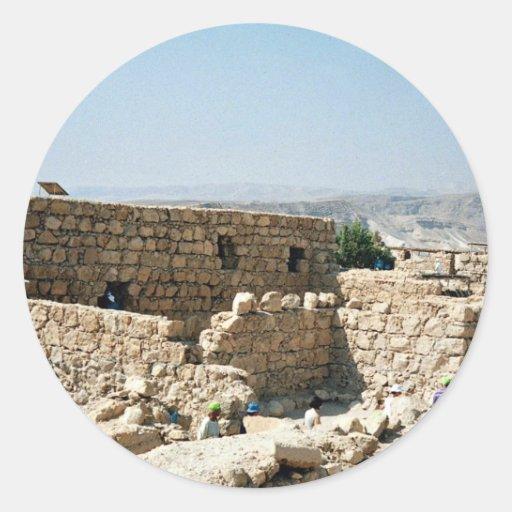 Edificio antiguo, Masada, Israel Pegatina Redonda