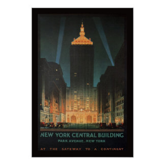 Edificio central 1929 de Nueva York Póster