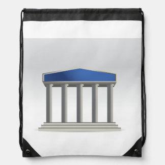 Edificio con la mochila del lazo de las columnas