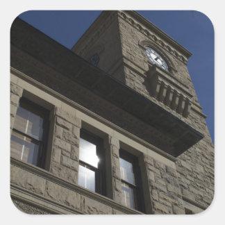 Edificio con la torre de reloj, San Jose céntrico Pegatina Cuadrada