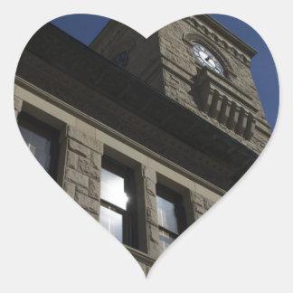 Edificio con la torre de reloj, San Jose céntrico Pegatina En Forma De Corazón
