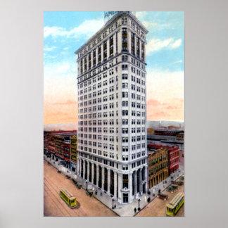 Edificio de banco de Birmingham Alabama 1r y vigés Póster