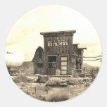 Edificio de banco del vintage etiqueta redonda