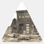 Edificio de banco del vintage pegatinas trianguloes