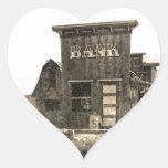 Edificio de banco del vintage calcomanía corazón personalizadas