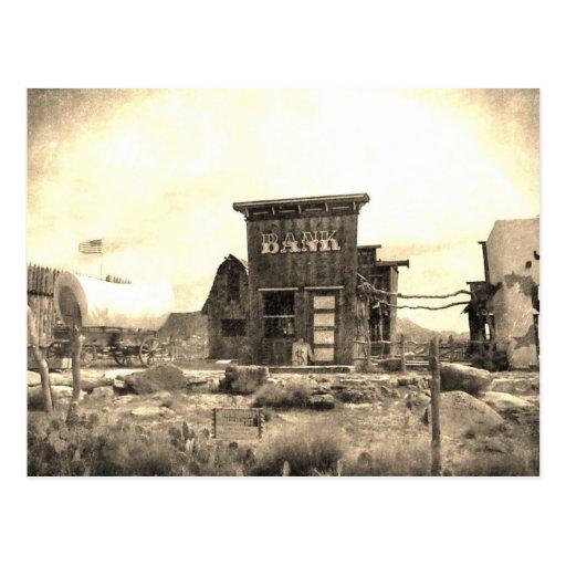 Edificio de banco del vintage postal