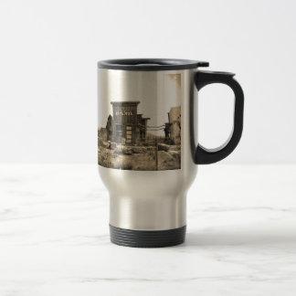 Edificio de banco del vintage taza
