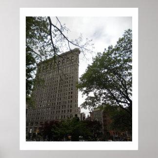 Edificio de Flatiron del parque cuadrado de Madiso Poster