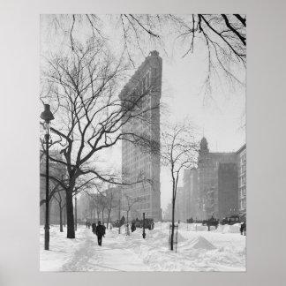 Edificio de Flatiron en Winter, 1905. Foto del Póster