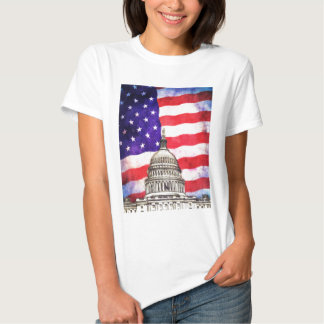 Edificio de la bandera americana y del capitolio camisas