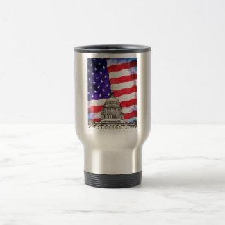 Edificio de la bandera americana y del capitolio taza de viaje de acero inoxidable