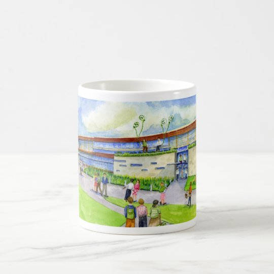 edificio de la ciencia de la matemáticas taza de café