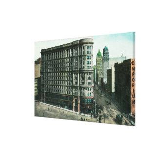 Edificio de la inundación del mercado y del albañi impresión en lienzo estirada