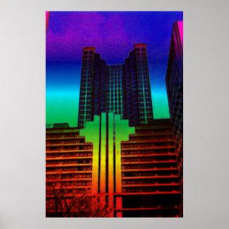 edificio de la oficina de la torre del color poster