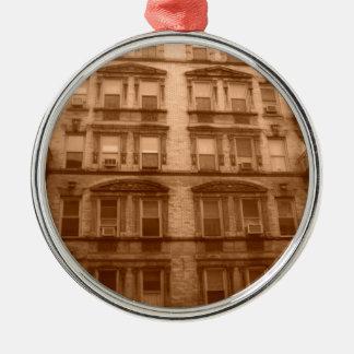 Edificio de New York City Adorno Redondo Plateado
