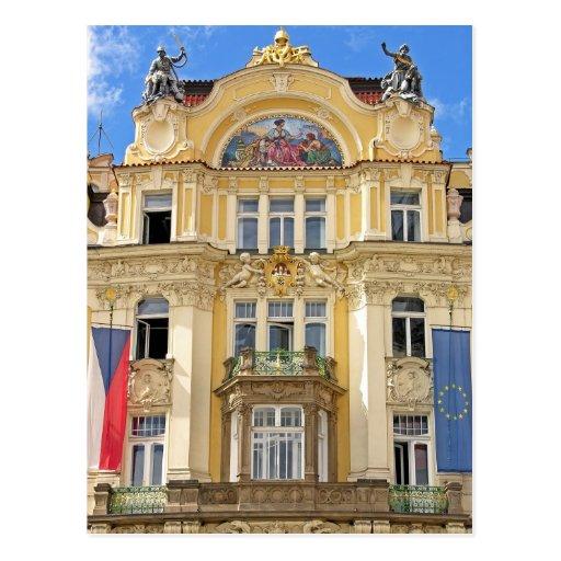 Edificio de Nouveau del arte, Praga Tarjetas Postales
