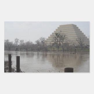 Edificio de Ziggurat Pegatina Rectangular