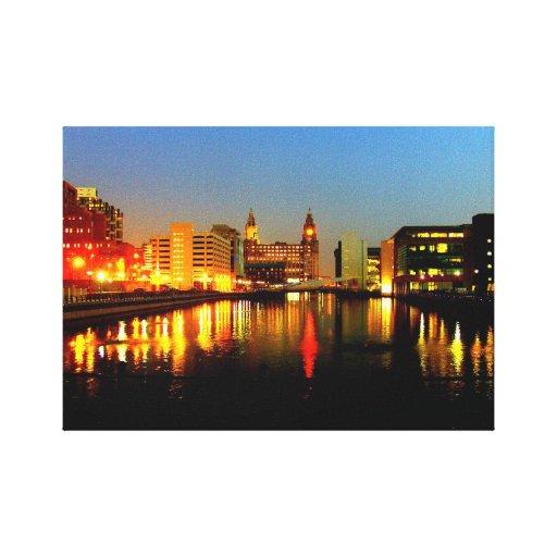 Edificio del canal y del hígado, Liverpool Reino U Impresión En Lona Estirada
