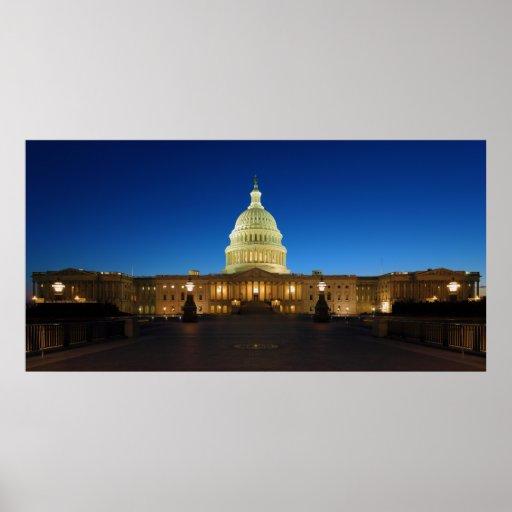 Edificio del capitolio de Estados Unidos en la osc Posters