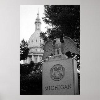 Edificio del capitolio de Michigan Póster