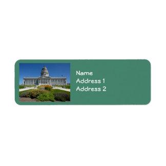 Edificio del capitolio de Salt Lake City (Utah) Etiquetas De Remite