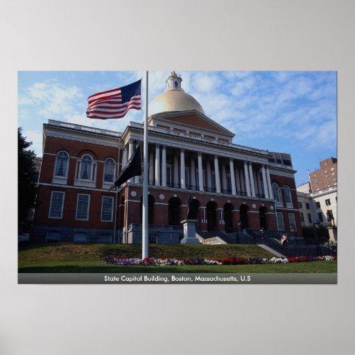 Edificio del capitolio del estado, Boston, Massach Póster