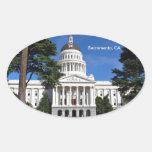 Edificio del capitolio del estado de CA - Pegatinas Ovaladas
