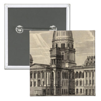 Edificio del capitolio del estado, Springfield, en Pin Cuadrado