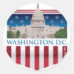 Edificio del capitolio - Washington DC Etiqueta Redonda