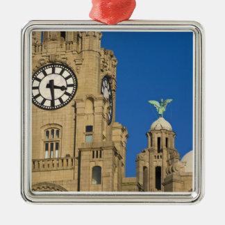Edificio del hígado, Liverpool, Merseyside, Adorno Navideño Cuadrado De Metal