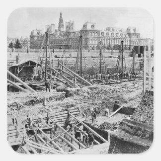 Edificio del Hotel-Dieu, París, c.1866 Pegatina Cuadrada