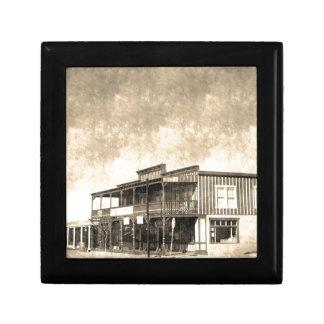 Edificio del oeste viejo del vintage joyero cuadrado pequeño