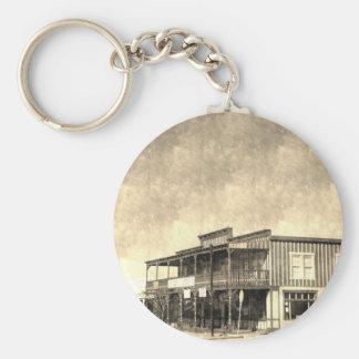 Edificio del oeste viejo del vintage llaveros personalizados