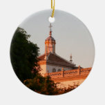 Edificio español adorno navideño redondo de cerámica