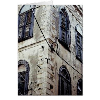 Edificio griego/del Cretan típico Tarjeta De Felicitación