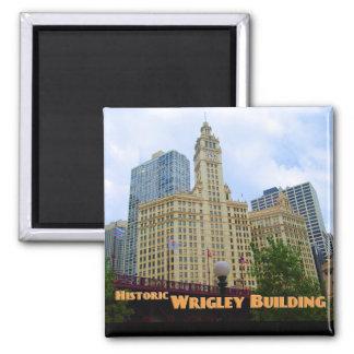 Edificio histórico de Wrigley - Chicago Illinois Imán Cuadrado