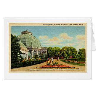 Edificio hortícola, parque de la isla de la tarjeta de felicitación