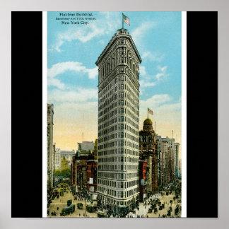 Edificio plano del hierro. Broadway y quinta aveni Póster